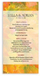 190 Wedding Menu Cards - Autumn Sunrise by WeddingPaperMasters.com. $123.50. Now you can have it all! We have created, at incredible prices & outstanding quality, more than 300 gorgeous collections consisting of over 6000 beautiful pieces that are perfectly coordinated together to capture your vision without compromise. No more mixing and matching or having to compromise your look. We can provide you with one piece or an entire collection in a one stop shopping experience with i...