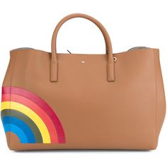 ANYA HINDMARCH Rainbow Maxi Ebury Handbag (¥268,970) ❤ liked on Polyvore featuring bags, handbags, tote bags, zippered tote, leather tote bags, genuine leather tote, leather handbags and tan leather tote