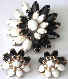 Weiss Black White Rhinestone Vintage Pin Earring Set   eBay