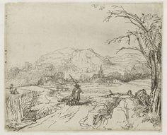 Rembrandt Harmensz. van Rijn | Landschap met schaapherder en hond, Rembrandt Harmensz. van Rijn, 1651 - 1655 |
