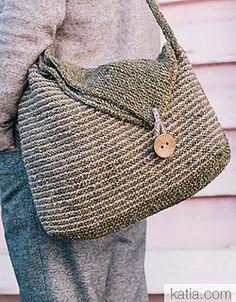 Taschenmuster von Fil Katia - Borse fatte all uncinetto - Tasche Stricken TascheStricken Easy Knitting, Knitting Patterns, Crochet Patterns, Knitting Beginners, Knitting Ideas, Crochet Handbags, Crochet Purses, Crochet Bags, Diy Sac