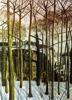 """Delivering Some Relatively Good News by Simon Palmer Ink, Watercolour and Gouache Watercolor Landscape, Landscape Art, Landscape Paintings, Nature Paintings, Art Advisor, Cool Artwork, Amazing Artwork, Snow Scenes, Modern Landscaping"