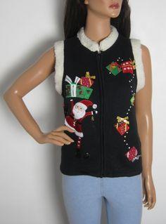 Vintage 1980s Festive Novelty Christmas Waistcoat from Virtual Vintage Clothing