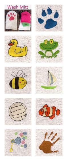 Childs Wash Mitt Embroidery Machine Design Details