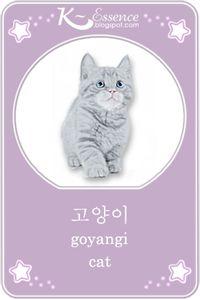☆ Cat Flashcard ☆    Hangul ~ 고양이 ☆  Romanized Korean ~ goyangi ☆   #vocabulary #illustration
