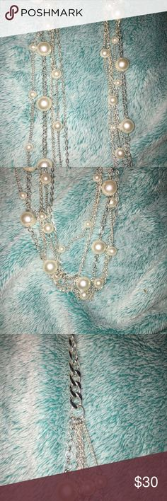 Vieste Silver 5-Strand faux Pearl Necklace Brand new, long, silver faux pearl necklace with 5 silver chain strongs. Comes with original tag! Kendra! Mixit Jewelry Necklaces