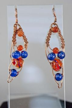 Copper Wirewrapped lampwork and Carnelian Earrings - Simply Unique Jewelry - 1