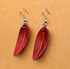 Handcarved Redheart Wood Leaf / Feather Earrings by whittlersroost, $25.00