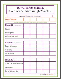 weight lifting tracking sheet