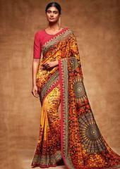 Sensational Yellow and Orange Tussar Silk Saree  https://www.ethanica.com/products/sensational-yellow-and-orange-tussar-silk-saree