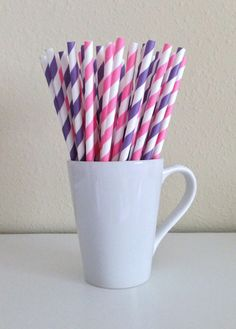 25 Pink and Purple and White Striped Paper Party Straws and DIY Printable Drink Flags / Wedding / Birthday / Baby Shower