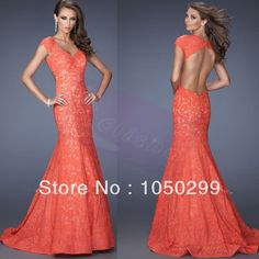 2014 Hot Sale Elegant Floor Length Sweetheart Neckline Cap Sleeves Open Back Coral Lace Mermaid Prom Dress