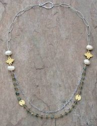 Elegant Labradorite and Pearls Necklace
