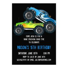 Big Blue Monster Truck Birthday Party Invitations SOLD on Zazzle