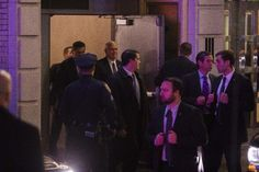 """Vice President-elect Mike Pence, top center, leaves the Richard Rodgers Theatre after a performance of """"Hamilton,"""" in New York, Friday, Nov. 18, 2016.  Vice President-elect Mike Pence has spent the last week and half in New York City, helping guide Donald Trump's transition to the White House.  Pence"""