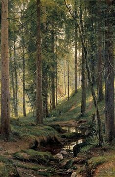 This beautiful photo reminds us that a forest filled with trees is a wondeful place to meditate. Stream by a forest slope - Ivan Shishkin - Canvas Artwork Beautiful Forest, Beautiful Places, Beautiful Pictures, Beautiful Scenery, Beautiful Photos Of Nature, Beautiful Beautiful, Beautiful Sunset, Amazing Nature, Amazing Places