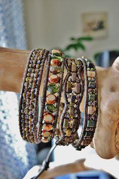 MAGIC FOREST 4 Wrap Kansa Leather Bracelet by BraceletsofBlueRidge, $94.00