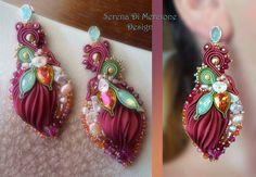 Ribbon Jewelry, Jewelry Crafts, Jewelry Art, Beaded Jewelry, Jewelry Design, Jewlery, Shibori, Soutache Earrings, Bijoux Diy