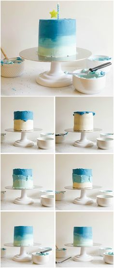 easy birthday cake covered with blue gradient icing for your little boy& first birthday - Baby Birthday Cakes, Baby Boy Cakes, Cakes For Boys, Easy Cake Decorating, Birthday Cake Decorating, Cake Decorating Techniques, Gateau Baby Shower Garcon, Simple First Birthday, 18th Cake