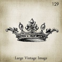 Vintage Crown LARGE Digital Vintage Image Download Sheet Transfer To Totes Pillows Tea Towels T-Shirts -129