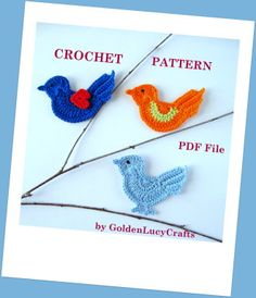 Bird Applique Crochet PATTERN | YouCanMakeThis.com