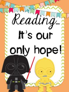 """Decorate your STAR WARS classroom with these fun posters! The digital download includes 4 different posters that can be printed in two different sizes (8x11 or 11x17)1-""""May the FORCE be with our class!""""2-""""Do or Do Not, there is no try.3-""""Reading... It's our only hope!""""4-""""Together we can rule the galaxy""""If you like these posters check out all the other great Star Wars products in my store!"""