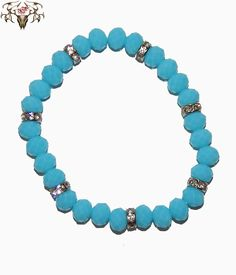 Here is another NEW color for spring 2015 which is sky blue. This is our Rhinestone Sky Blue bracelet at www.twistedthingamajigs.com
