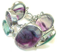 Fluorite Mystic Topaz Sterling Silver Bracelet  by SilverRushStyle