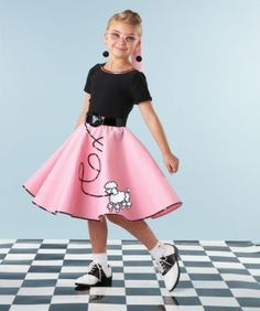 Fab '50s Costume For Girls - exclusively ours - She'll rock-around-the-clock in this twirly pink circle skirt with poodle appliqué and black sequins.