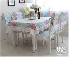 Victorian Blue Rose Lace Tablecloth Table Cover Round Chair Pad