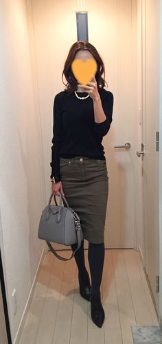 Black sweater: Drawer, Khaki skirt: Deuxieme Classe, Grey bag: GIVENCHY, Boots: Fabio Rusuconi