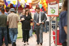 """Brennan (Emily Deschanel) and Bones (David Boreanaz) from """"The Hot Dog in the Competition"""" episode of BONES on FOX."""