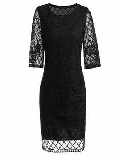 Embroidery O-Neck 3/4 Sleeve Mesh Shift Dress