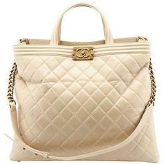 Pre-owned Chanel Le Boy Shopper Beige Quilted Calf Leather Tote ( 2 a92e014effba9