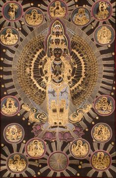 Samantamukha, eleven-headed, thousand-armed Avalokiteshvara, a Bodhisattva of compassion. Black Meditational Thangka with 24 carat gold.