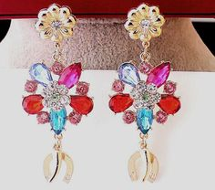New Style Colorful Charm Crystal Leaf Flower Chili Pendant Statement Earring #Handmade #DropDangle