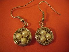 HANDMADE: Silver Bird's Nest Earrings with Pearl Eggs ($12)