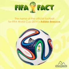 Adidas Brazuca is the official match ball for #FIFAWorldCup2014. Manufactured in Sialkot, #Pakistan, Brazuca is the first ever FIFA Football named by Fans worldwide.   Participate in our #FIFASurvey at: https://www.surveycrest.com/s/FIFAFever