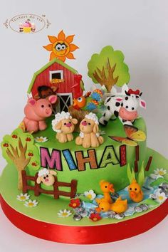 Mihai's Farm cake - Cake by Viorica Dinu Farm Birthday Cakes, Bithday Cake, Barn Cake, Farm Animal Cakes, Horse Cake, Cake Supplies, Cakes For Boys, Boy Cakes, Novelty Cakes