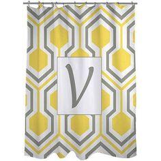 Thumbprintz Honeycomb Monogram Yellow Shower Curtain