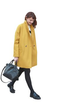 cutout women yellow coat