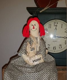 rag doll with kitty, primitive rag doll, OFG, FAAP, rag doll shelf sitter, raggedy Ann doll, Raggedy Annie doll, primitive Raggedy Ann, by Nanasgrungyprims on Etsy