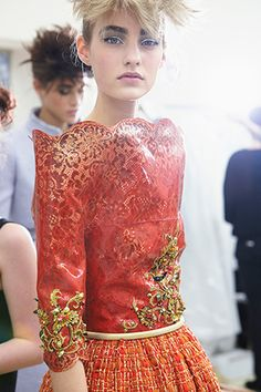 backstage at Chanel Haute Couture FW14
