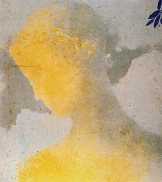 "Odilon Redon  ""Béatrice"", 1897 Litografía en color. Papel de China pegado a papel. 33.5 x 29.5 cm."
