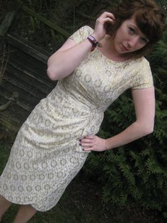 1950's Gold Sarong Wiggle Dress by anchorandrosevintage on Etsy, £90.00