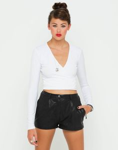 Leather shorts and cute top
