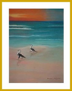 Birds on the Beach - a pastel by Evelyn McCorkell - www.3facesgallery.com