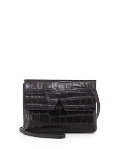 Pin for Later: Ashley Olsen Just Pulled Off a Major Fall Style Hack  Vince Signature V Croc-Embossed Baby Crossbody Bag, Black ($265)