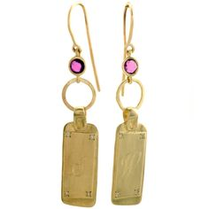 Scosha 14kt gold earrings with pink ruby