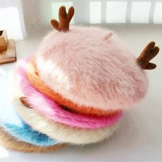 c8d578c0a5e84 10 Colors Mori Girl Deer Horn Fleece Beret Hat SP154307
